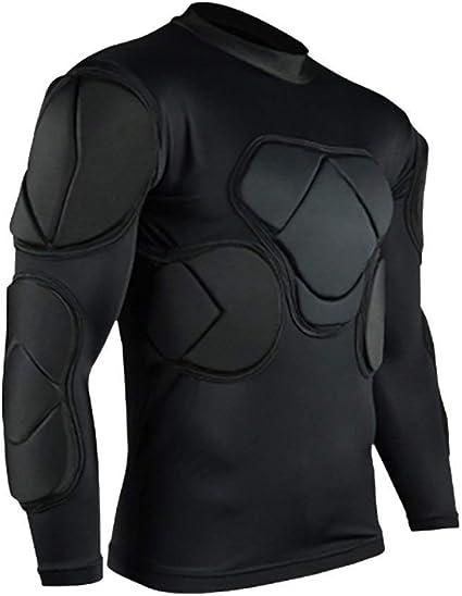 QIKEGooods Sports Gepolsterte Kompression T-Shirt Tops Langarm Guard Schutzhemd Schulter Rippe Brustschutz f/ür Outdoor Fu/ßball Basketball Paintball Rugby