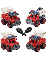 SBT Take Apart 4 PCs Fire Truck Toys for Boys, Kids Stem Building Vehicles Toy with Screwdriver, Ideal DIY Gift for Aged 3 4 5 6 Boy Girl Toddler Kid Toy