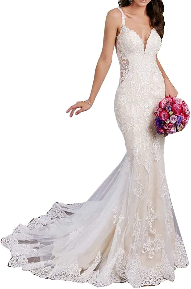 Melisa Spaghetti Straps Open Back Lace Beach Mermaid Wedding Dress for Bride with Train Bridal Ball Gown