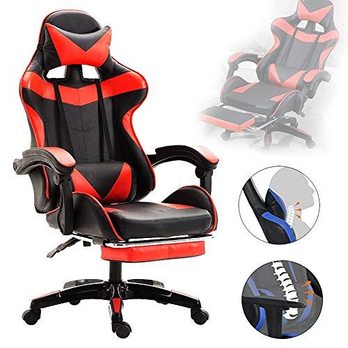 LLCA - Silla giratoria para videojuegos con reposa pies, ergonómica, piel sintética, reclinable para ordenador, altura ajustable, silla de casa, capacidad 150 kg