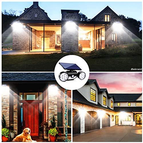 Upgraded Solar Lights Outdoor, Super Bright Motion Sensor Security Lights Solar Wall Lights with Dual Head Spotlights Waterproof 360° Adjustable Solar Motion Lights Outdoor for Garden Garage (2 Pack)