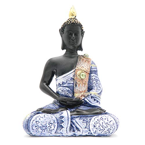 Rockin Buddha Statue Black Body Dress Blue Antiques  8 inches Tall Pattern Decoration Mantra Buddha Home Decoration Office Meditation Room Temple