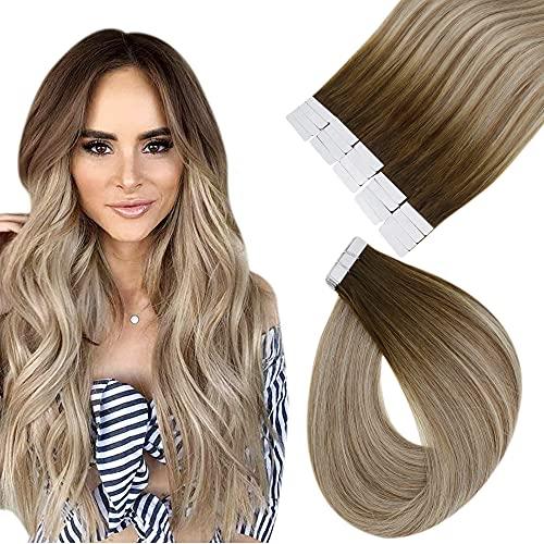 Easyouth Haar Verlängerung Tape on Farbe Dunkler Braun Verblassen zu Aschbraun Mix mit Mittelblond 22zoll 50g Glue on Hair Extensions Tapes Klebestreifen Extensions