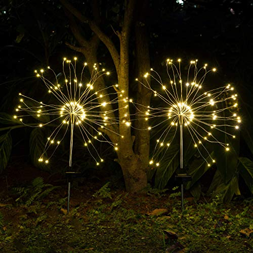 Solarleuchten für Außen,120LED Solar Feuerwerk Licht,IP65 Wasserdicht,Solarleuchten Garten,Solar Landschaft Lichter GeltenTerrasse Rasen Garten Hinterhöfe Wege (2pack)