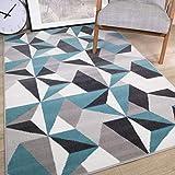 alfombra salon pelo corto azul