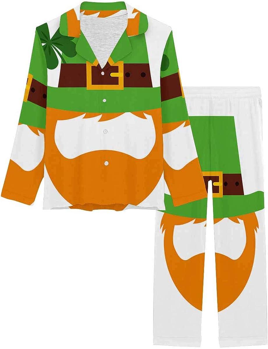 InterestPrint Women's Pajamas Set Long Sleeve with Long Pants XS-XXL Cartoon Irish Leprechaun Man Face Saint Patrick's Day