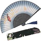 LXTIN Abanico Antiguo Abanico de Seda de Mano Plegable para Mujer con Funda de Tela para protección para Regalos Estilo Retro Chino/japonés, A