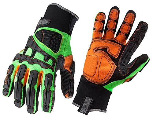 Ergodyne ProFlex 925F(x) Dorsal Impact-Reducing Gloves, 2X-Large, Lime