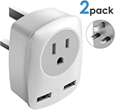 UK Power Adapter,2 Pack UK Adapters for Travel,US to UK Adapter with 2 USB,3 in 1 UK Travel Adapter, for USA to UK(England,Scotland),Ireland,Hong Kong,etc.Ultra Compact,2 Pack for Less Cost(Type G)