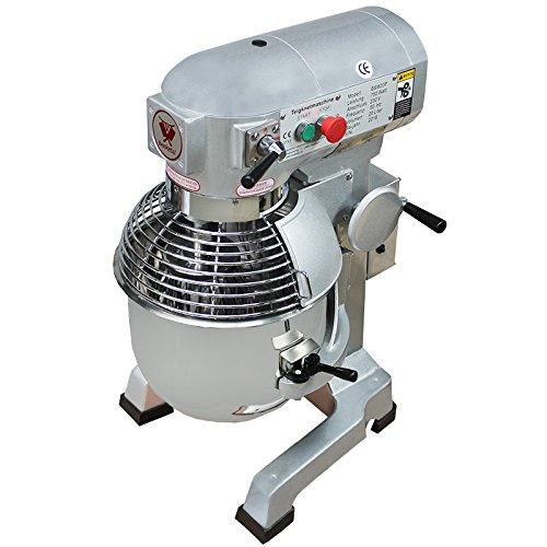 Beeketal \'BSM10P\' Profi Teigknetmaschine mit Planetenrührwerk 10 Liter Kapazität (3 Stufen 105, 170, 340 U/min), Knetmaschine inkl. Knethaken, Schneebesen und Flachrührer - silber lackiert