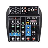 MAXCART 4 Channel Audio Mixer Sound Mixing Console with Bluetooth USB Record 48V