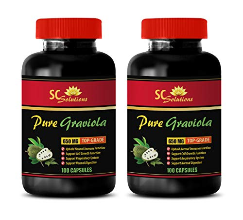 Nerve Supplement Formula - GRAVIOLA Leaf Extract (650Mg) - Soursop Leaves Extract - 2 Bottles 200 Capsules