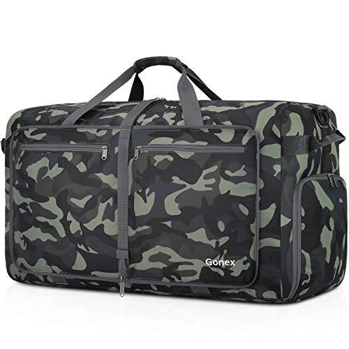 Gonex Bolsa de Viaje 150L, Plegable Ligero Bolso Equipaje Maleta Grande Bolsas Deportes Gimnasio Maletas de Mano Impermeable Duffel Travel Bag para Hombres y Mujeres Fin de Semana (Verde Camuflaje)