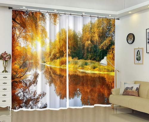 Gnzoe Bedroom Curtains Modern Autumn by The River Window Curtains Red Yellow 214x183CM   2 Panels