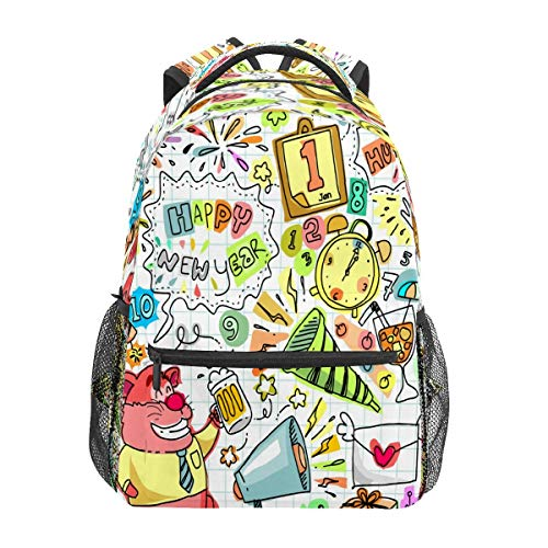 Doodle New Year Party Painting Business Laptop Backpack Travel Hiking Camping Daypack College Bookbag Large Diaper Bag Doctor Bag School Backpack Water Resistant Anti-Theft for Women&Men