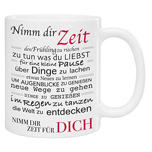 Tasse – Nimm Dir Zeit: bedruckter Kaffeebecher mit liebevollem Spruch – Kaffeetasse für Mama, Freundin oder fürs Büro