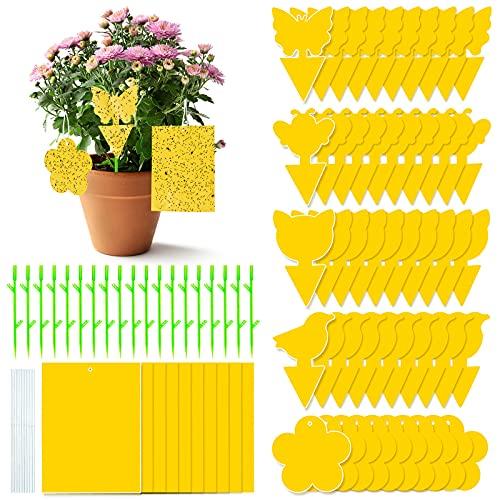 GuKKK Gelbsticker Fliegenfänger, 80 Pcs Gelbtafeln Trauermücken Bekämpfen, Fliegenfalle, Wasserdicht Gelbfalle Mückenfalle, Obstfliegen, für Gartenarbeit Pflanzenschutz und Schädlingsbekämpfung