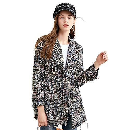 CGWL Primavera/Otoño Mujer Chaqueta Casual Abrigo Mano-Borla Suelta Abrigo A Cuadros Tweed Chaqueta Solapa Chaqueta Gruesa Blazer Mujer Blazer (Size : Xlarge)