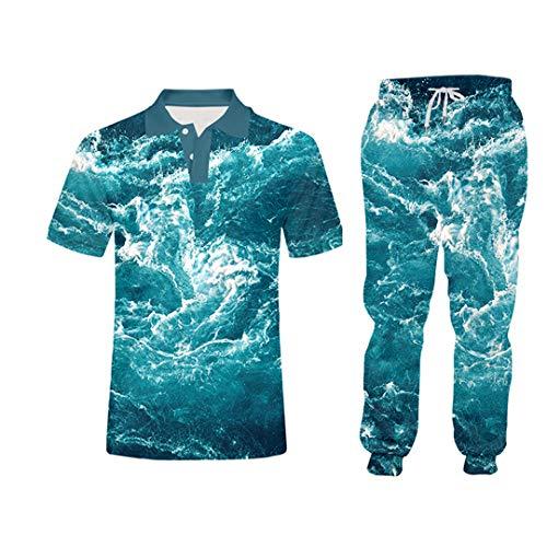 Hombre Sudaderas Zip Up Chaqueta+Pantalones de deporte Conjuntos Novedad 3D Beach Print Sport Suit Unisex Gimnasio Ropa