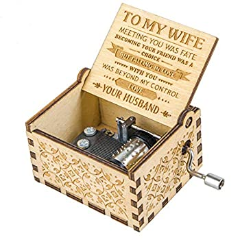 Music Box Gift for Wife from Husband Melody You are My Sunshine Vintage Hand Crank Romantic Love Musical Box Women Girl Girlfriend Valentine Christmas Birthday Present Mechanism Artware