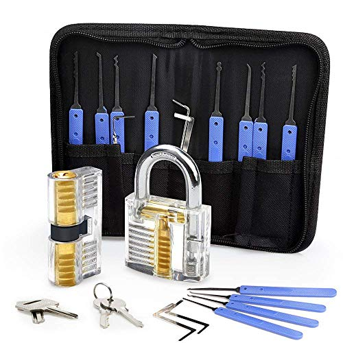 DDPP 12 Picks & 5 Torque Wrenches Lock Set Transparent Locksmith Practice Padlocks, Beginner es Guide and Locksmith Training (Blue)