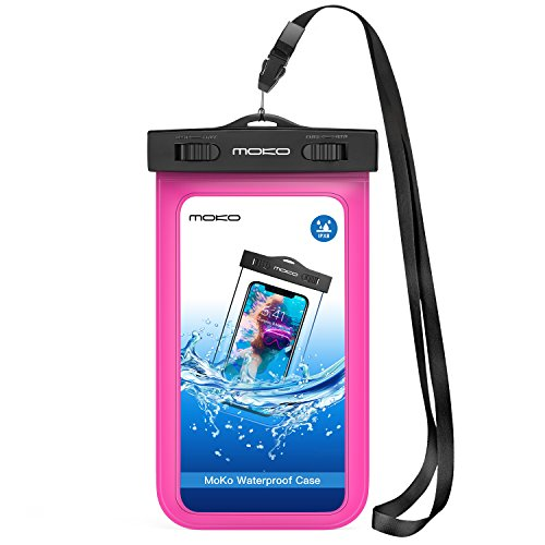 MoKo Funda Impermeable - Waterproof Brazo y Cuello Compatible para iPhone 12/12 mini/12 Pro/7/7 Plus/6s/ 6s Plus/Galaxy S7/ S7 Edge/ P7 P8 P9 y Smartphone 5.7 Pulgadas - IPX8 Certificado, Fucsia