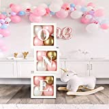 1st Birthday Balloon Box Decorations with 18 Balloons-Baby First Birthday Clear Cube Blocks Spell 'ONE' Letters for 1 Year Old Baby Shower, Birthday Party Supplies, Newborn Photo Shot Props