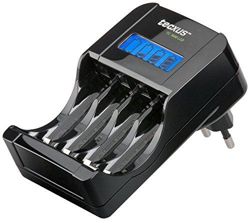 Tecxus Chargeur rapide TC 1000 LCD - Chargeur pour piles rechargeables AAA (Micro) et AA (Mignon) avec écran de charge LCD - noir