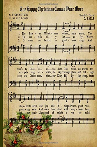 Vintage Christmas Music Sheet Journal: 100 PAGES 6 X 9 JOURNAL (MUSIC JOURNALS)