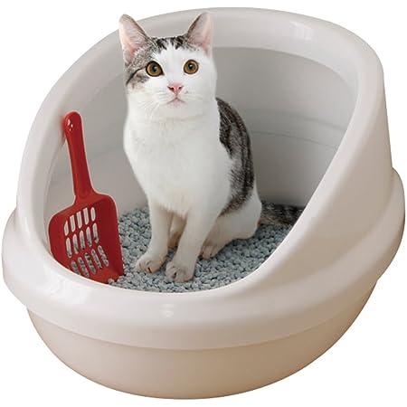 アイリスオーヤマ ネコのトイレ ハーフカバー (スコップ付き) しろ