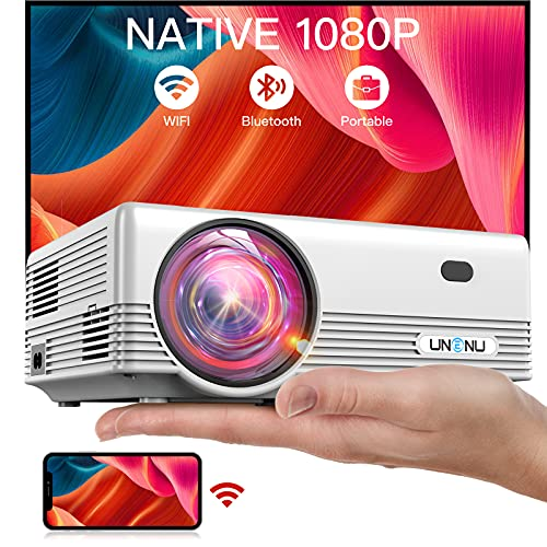 """UNENU Mini Projector Native 1080P WiFi Bluetooth 5.1 Projector,8000L Full HD Portable OutdoorMovie Projector,Support 4K,Zoom,300"""",Wireless Mirroring Projector,Suitable for iOS/Android/TV Stick/Laptop"""
