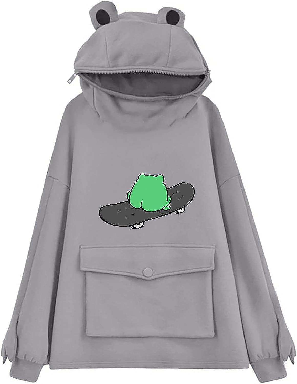 Womens Hoodies Pullover Funny Sweatshirts for Women, Trendy Teen Girls Long Sleeve Cartoon Skateboard Frog Hoodie Funny Pullover Jumper Hooded Tops