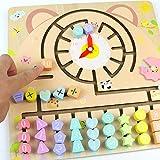 Akokie Baby Spielzeug Lernspiel Holz 3 IN 1 Montessori Spielzeug Mit Zahlen Formen Pädagogisches Lernen Spielzeug Geschenke für Kinder ab 3 Jahren Mädchen Junge
