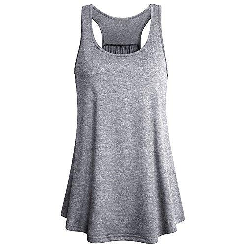 TUDUZ Damen Große Größe Camisole Rundhals Falten T-Shirt Weste Bluse Ärmellos Stretch Tunika Top(L,X-Grau)