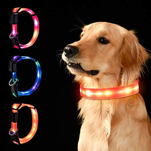LED Dog Collar Waterproof USB Rechargeable Lighted Dog Collar Safety Glowing Light Up Collar product image