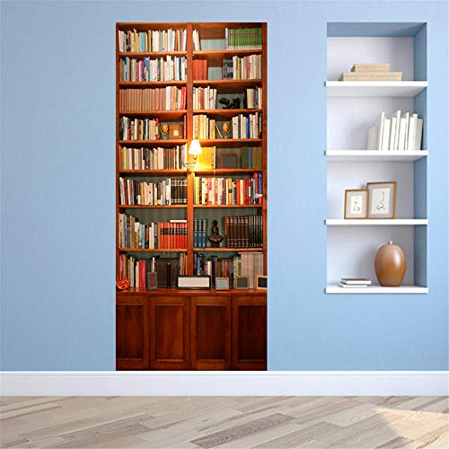 MACHINE BOY Removable Door Sticker Solid Wood Bookshelf Under The Night Light Wallpaper for Bedroom Living Room Mural Home Decor Size 90 * 200cm