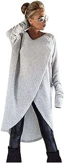 Aniywn Womens Irregular Knitting Long Tops Blouse Baggy Long Sleeve O-Neck Plain Pullover Hooded Sweatshirt