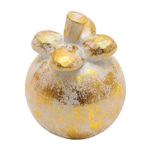 オブジェ ウッド 木製 木彫り 天然木 マンゴスチン フルーツ 果物 ゴールド 金