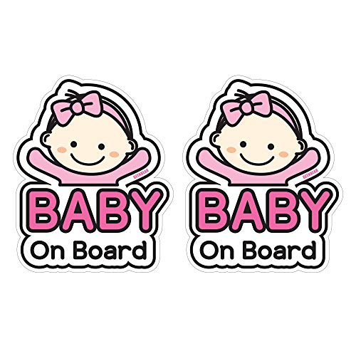 GEEKBEAR Baby on Board Sticker and Decal (Basic Girl, 2 Pack) - Baby Bumper Car Sticker - Baby Window Car Sticker - Baby in Car Sticker - Cute Safety Caution Decal Sign for Cars