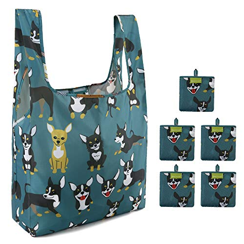 Reusable Bags for Grocery Shopping with Pouch 5 Pack 50LBS Ripstop Dogs Grocery Totes XLarge Fashion Bags Machine Washable Waterproof Lightweight