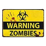 Doitsa 1x Retro Poster Decoracion de Arte - Warning Zombies - Señal de Advertencia
