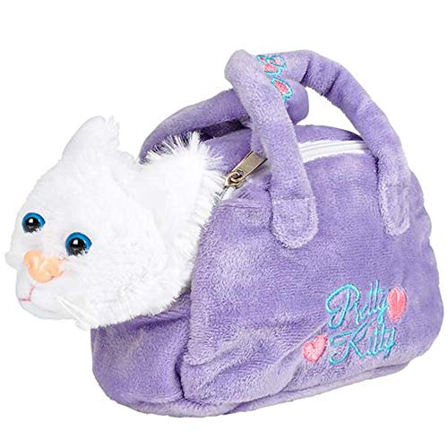 ArtCreativity Plush Kitten in Purse Toy for Kids, Pretend Play Kitty Carrier Toy with Cat Stuffed Animal and Cute Bag, Super-Soft Cat Purse, Best Birthday Gift for Girls and Boys