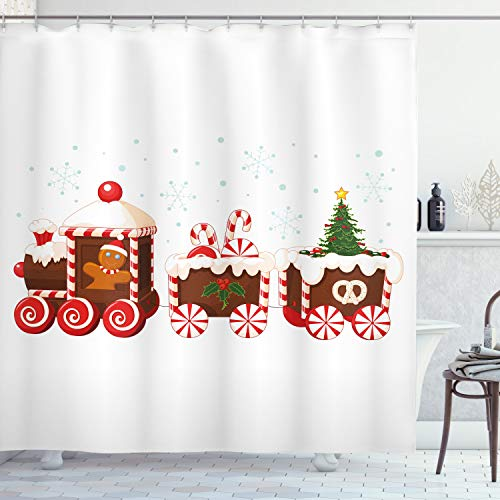 ABAKUHAUS Weihnachten Duschvorhang, Lebkuchen-Zug, mit 12 Ringe Set Wasserdicht Stielvoll Modern Farbfest & Schimmel Resistent, 175x200 cm, Weiß Braun Vermilion