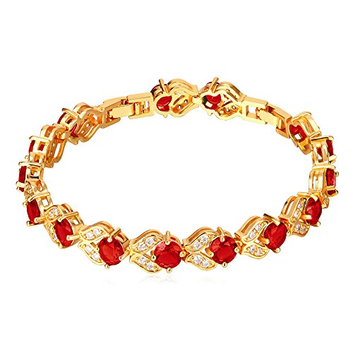 U7 Women Fashion Crystal Birthstone Gemstone Jewelry 18K Gold Chain Ruby Red CZ Cubic Zirconia Tennis Bracelet,6-8 Inch
