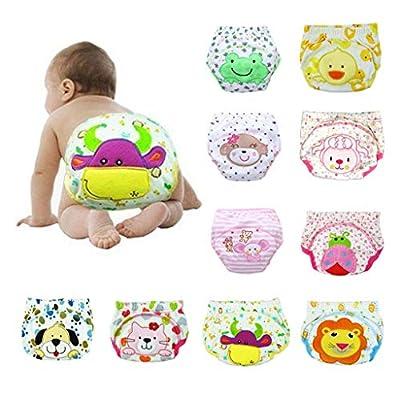 MOKINGTOP Baby Washable Reusable Pocket Cloth Diapers Baby Cotton Training Pants Panties Diapers Reusable Nappies Washable Underwear 10PCS (12-18 Months)
