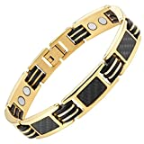 Carbon Fiber Titanium Magnetic Bracelet Gold Tone Size Adjusting Tool and Gift Box Included By Willis Judd