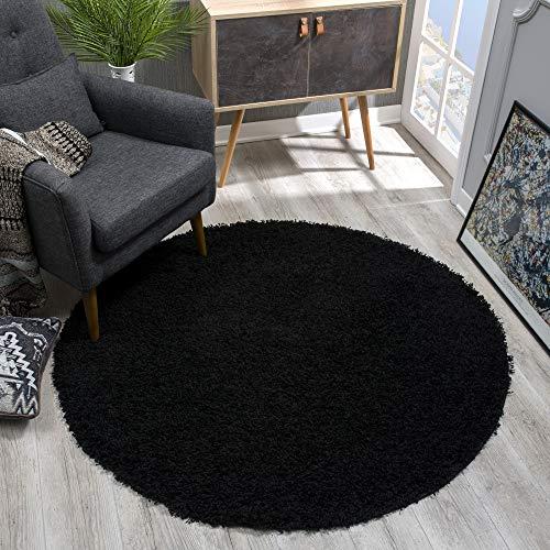 SANAT - Alfombra (Polipropileno, 80 cm, Redonda), Color Negro