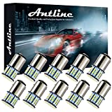 Antline 1157 BAY15D 7528 2057 2357 LED Bulbs White 10-Packs, Super Bright 3014 50-SMD LED Replacement for 12 Volt RV Camper Car Vehicle Trailer Boat Trunk Backup Reverse Tail Brake Turn signal Lights