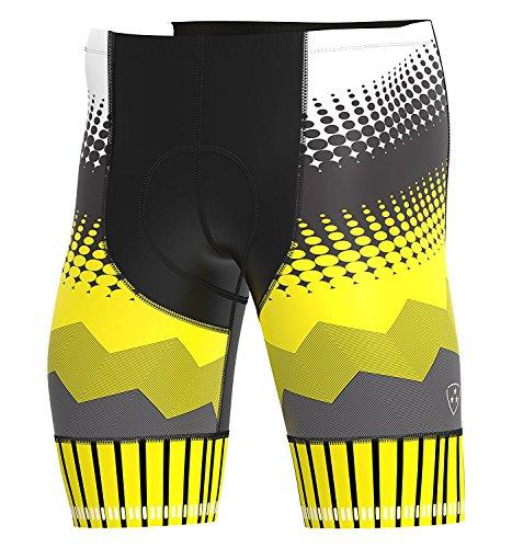 Hera International Herren Fahrrad Gel Gepolsterte Shorts Kompressionsshorts für Radfahrer mit Gel-Pad XL gelb