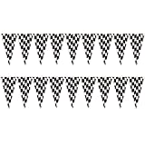 Black and White Checkered Race Fan Plastic Flag Banner, 12' x 10.5' (2 Pack)